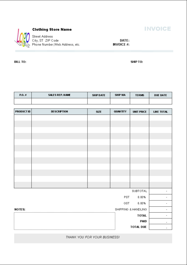 Clothing Store Invoice Template   Uniform Invoice Software With Excel Construction Estimate Template Download Free