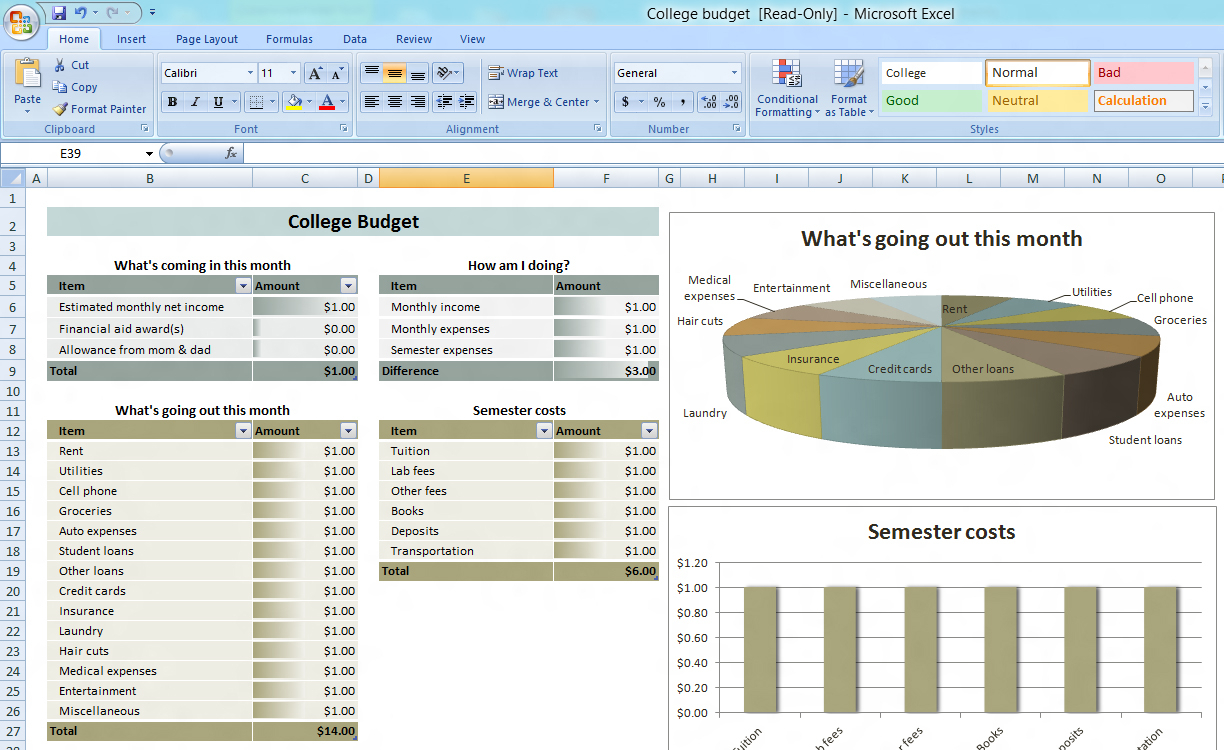 College Budget Planner Superb Budget Excel Spreadsheet Free Download To Monthly Budget Planner Template Free Download