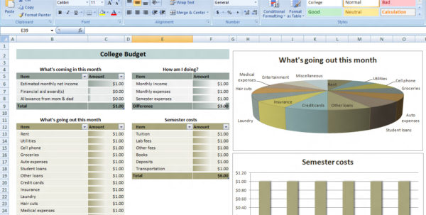 College Budget Planner Superb Budget Excel Spreadsheet Free Download within Monthly Budget Planner Excel Free Download