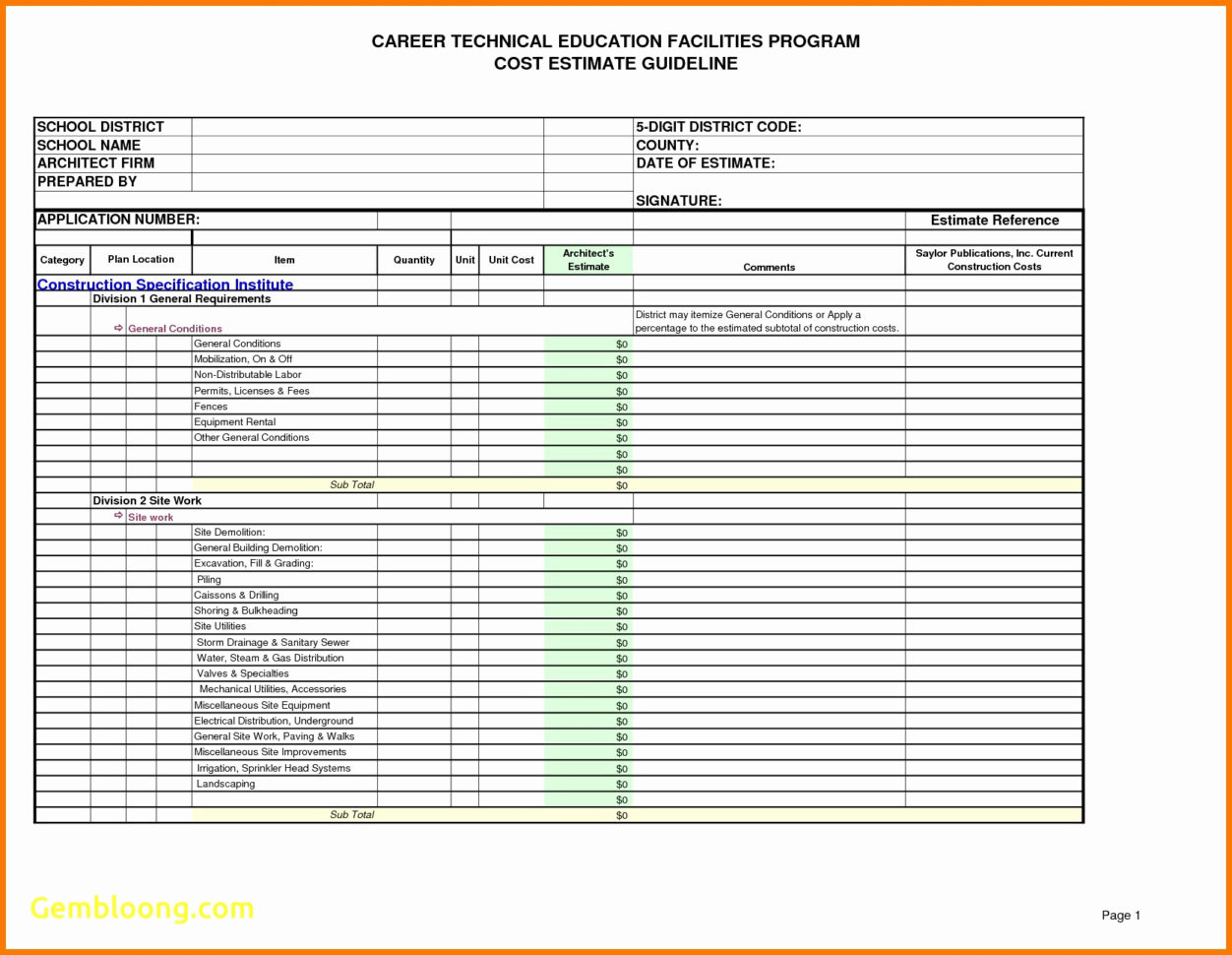 Construction cost estimate format example of spreadshee for New construction cost estimator