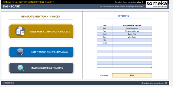 Commercial Invoice Template   Excel Invoice Generator & Tracker Tool With Database Excel Template Free