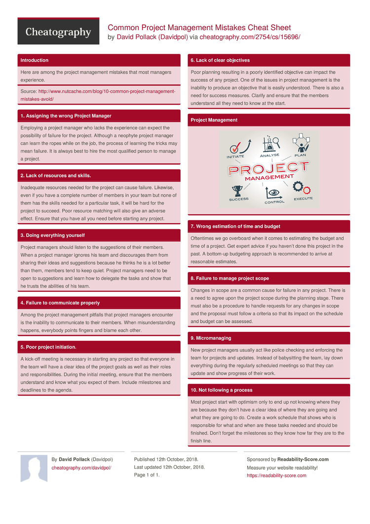 Common Project Management Mistakes Cheat Sheetdavidpol Within Project Management Cheat Sheet