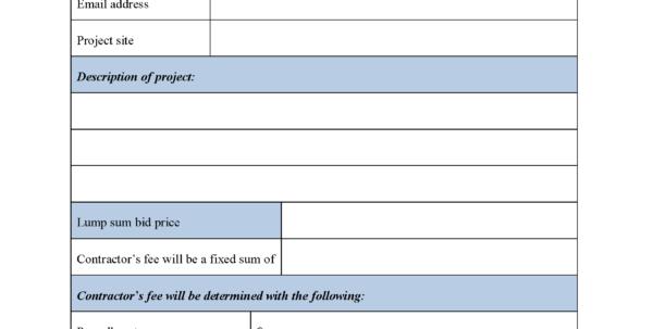Construction Bid Form | Editable Forms With Construction Estimate Form Pdf