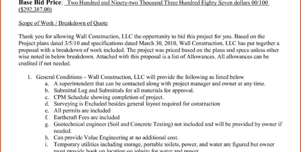 Construction Bid Proposal | Business Mentor Intended For Residential Construction Bid Form