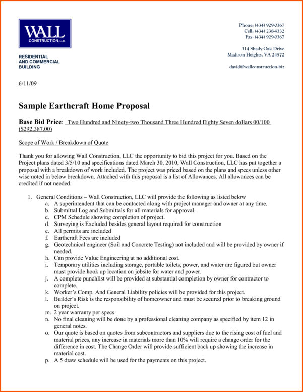 Construction Bid Proposal   Business Mentor Intended For Residential Construction Bid Form