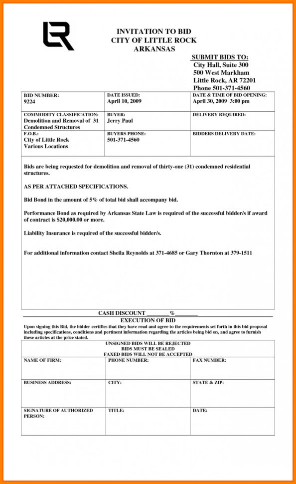 Construction Bid Template Free Excel Construction Quotation Template In Construction Bid Form Excel