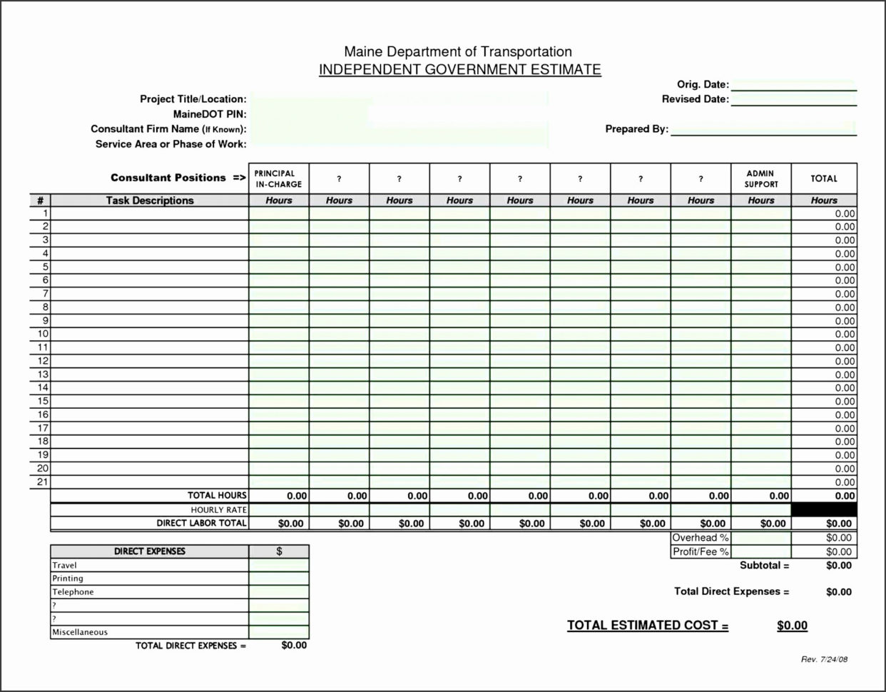 Construction Bid Template Free Excel Work Estimate Template Free Intended For Construction Bid Form Free