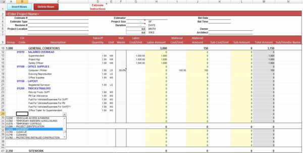 Construction Cost Estimate Template Excel New Construction Throughout Construction Estimate Templates Free