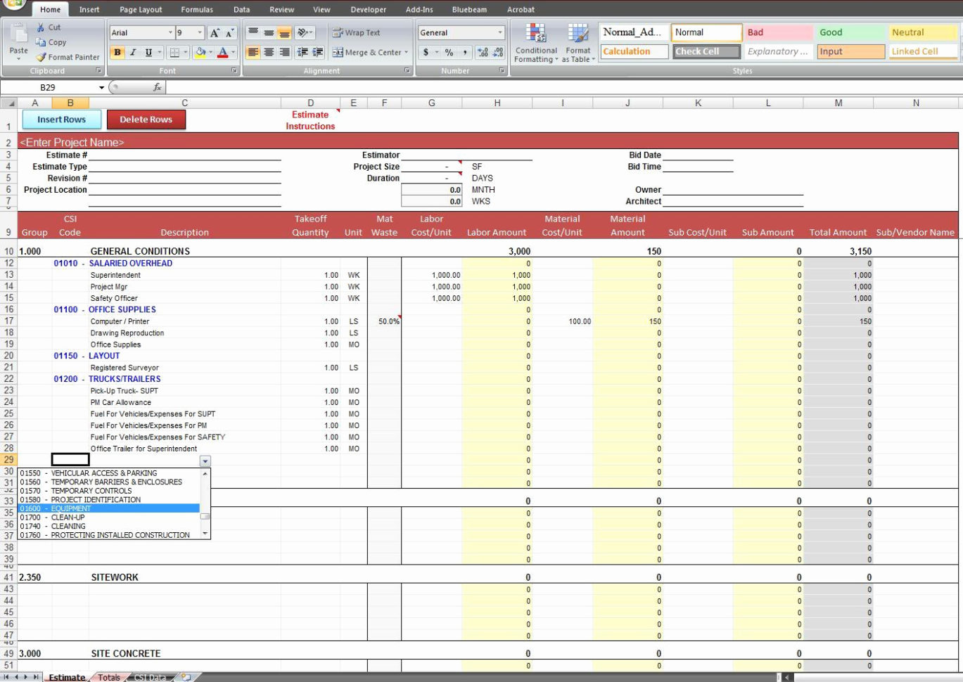 Construction Cost Estimate Template Excel New Construction To Cost Estimate Template Excel