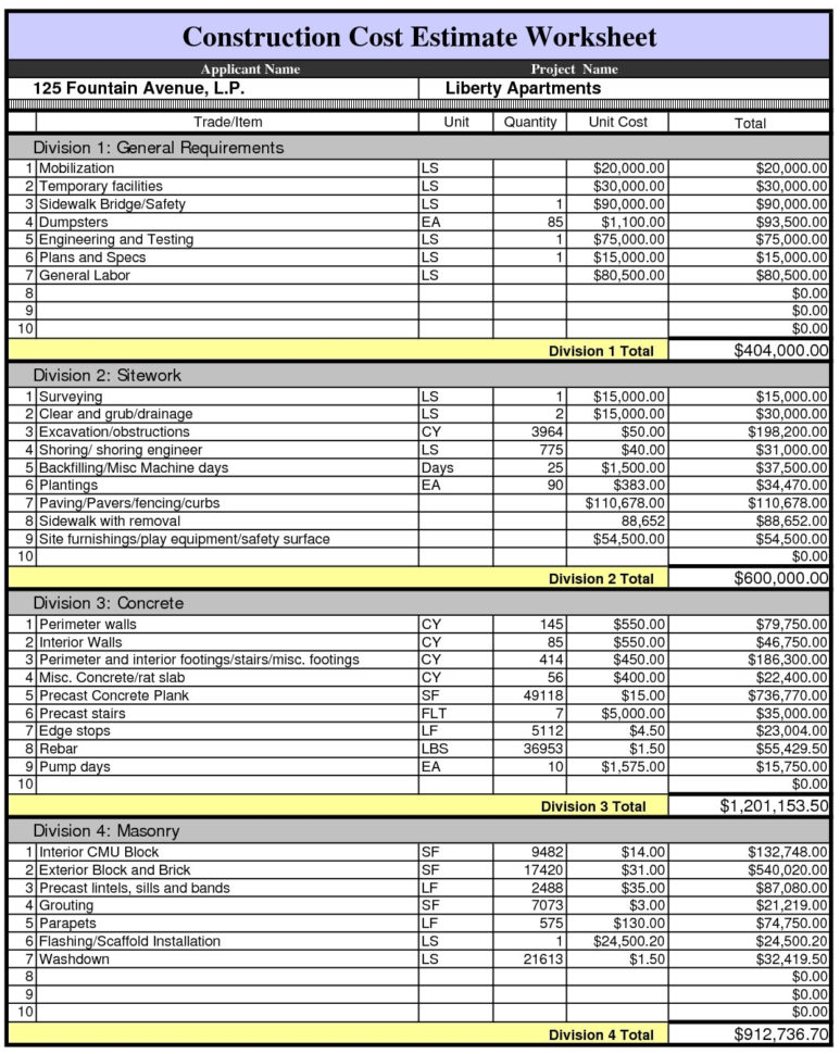 Construction Cost Estimate Worksheet1 With Construction Cost For Residential Construction Estimate Spreadsheet