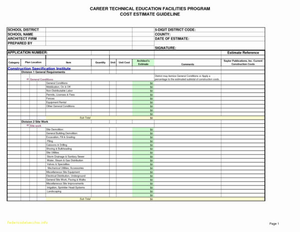 Construction Cost Spreadsheet Analysis Template For Estimate Luxury With Construction Costs Spreadsheet