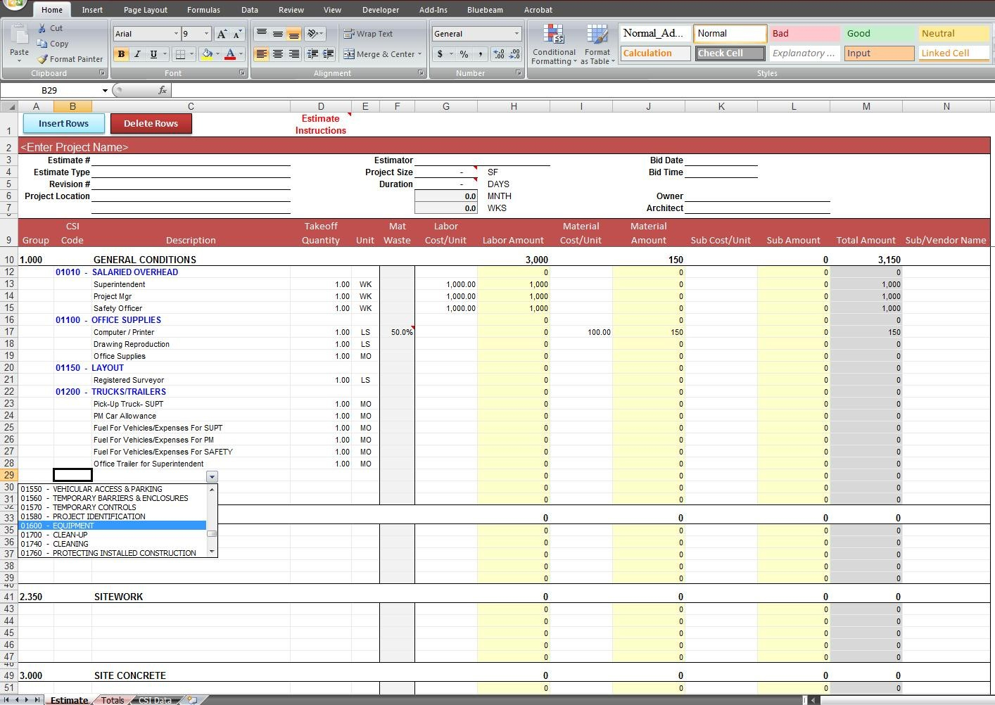 Construction Estimate Template Excel Example #3003 - Searchexecutive Within Construction Estimate Form Excel