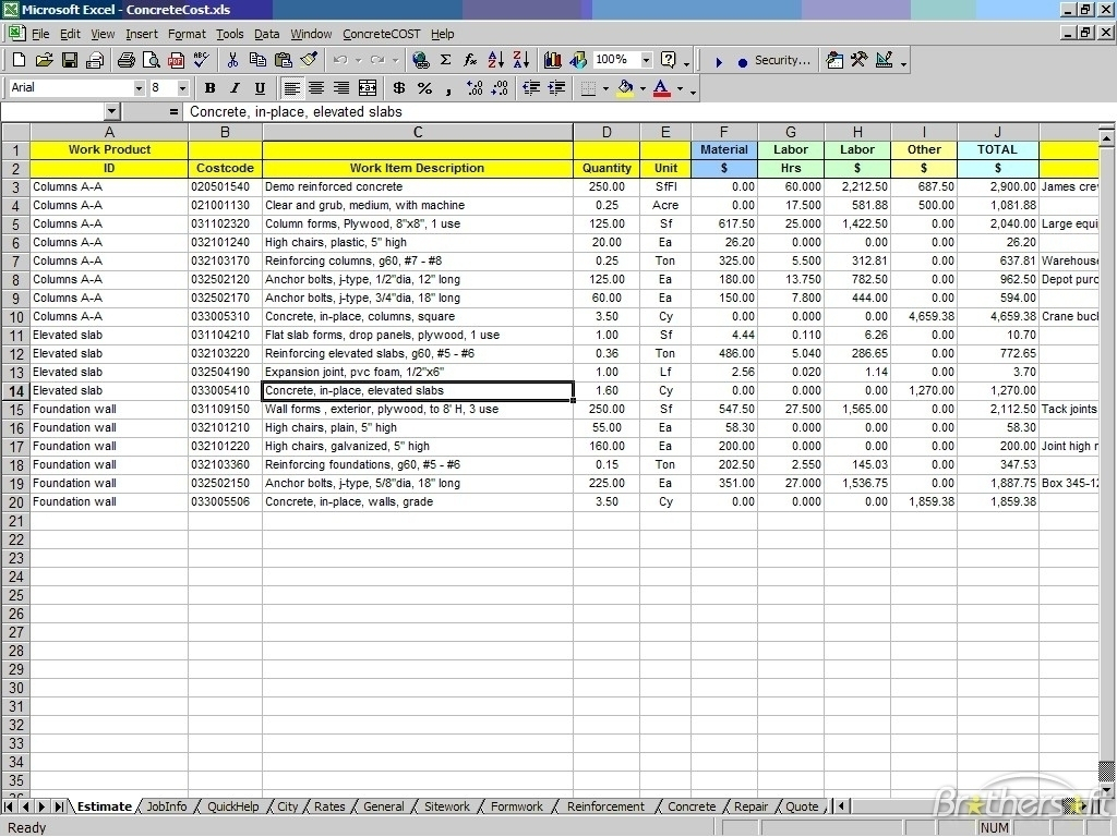 Construction Estimate Template Excel Free Archives   Southbay Robot Intended For Construction Estimating Templates For Excel Free
