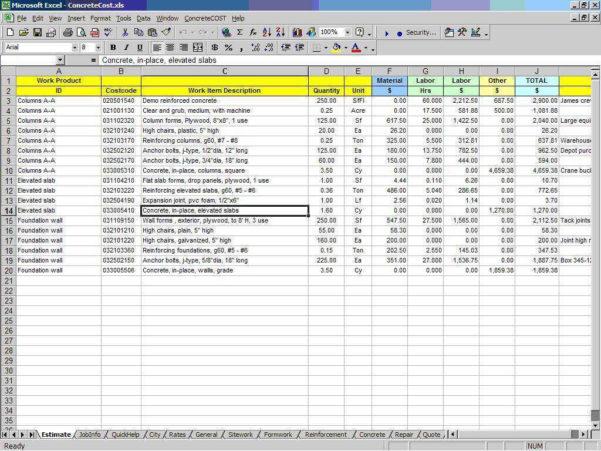 Construction Estimating Spreadsheet Excel | Sosfuer Spreadsheet For Construction Estimating Spreadsheets
