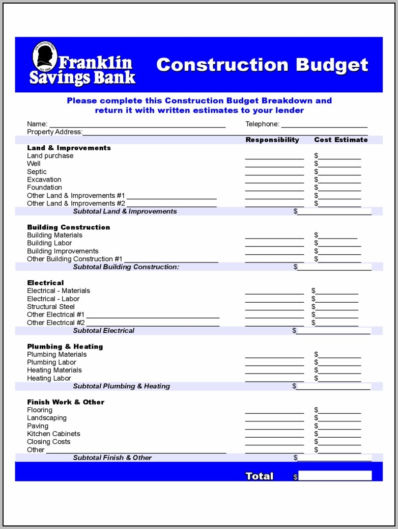 Construction Forms 41 Free Templates In Pdf, Word, Excel Download To In Construction Estimate Forms Download