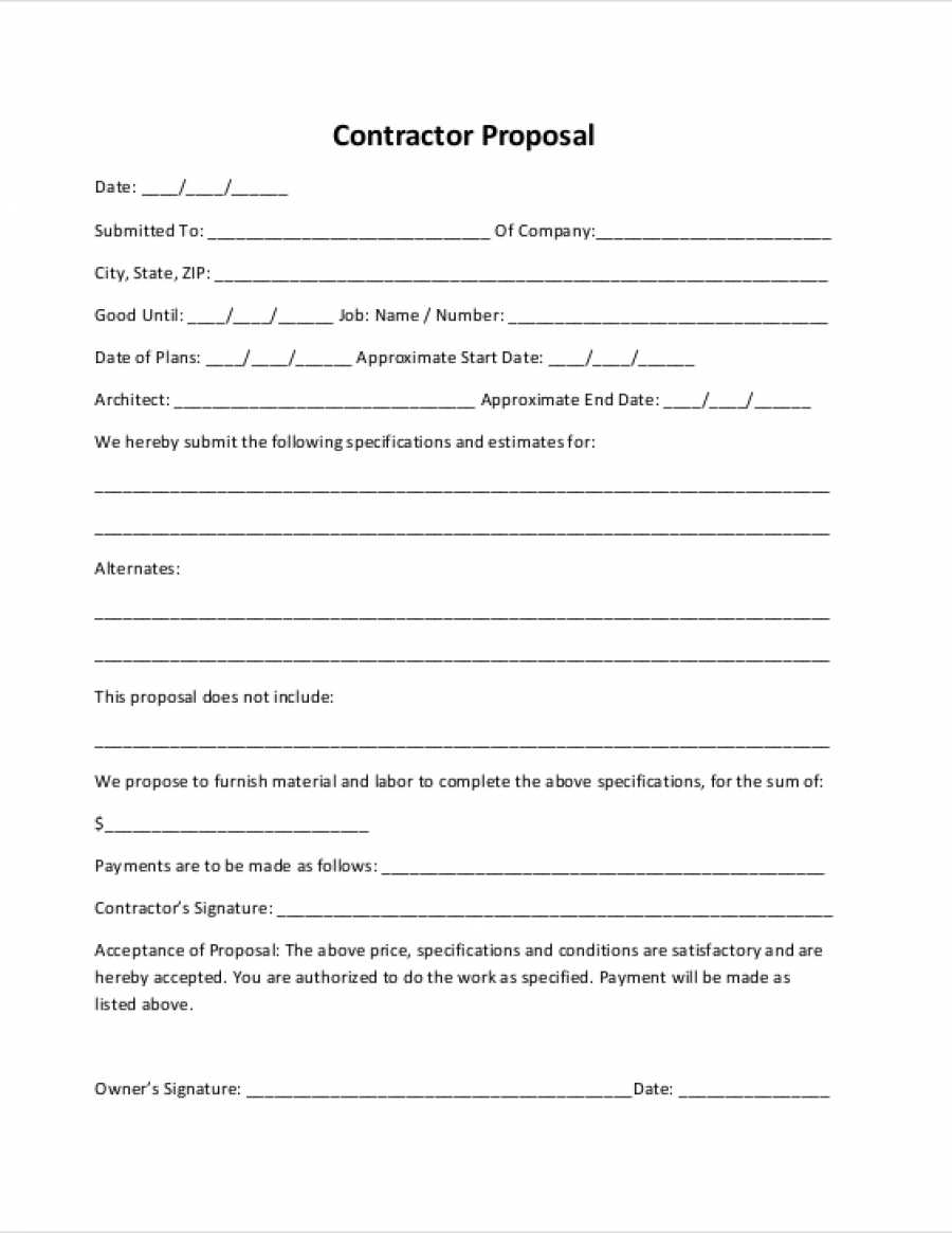 Construction Proposal Form Construction Proposal Template In Construction Bid Form Free