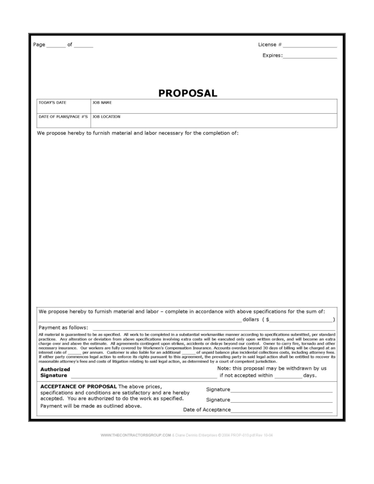 Construction Proposal Template : Oninstall Intended For Construction Estimate Forms Templates