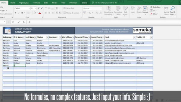 Contact List Template In Excel | Free To Download & Easy To Print Intended For Download Excel Spreadsheet Templates