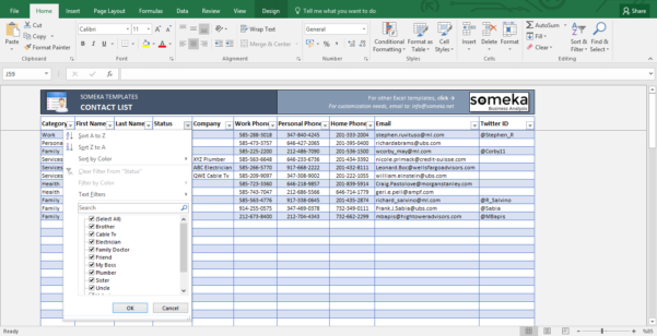 Contact List Template In Excel | Free To Download & Easy To Print Throughout Database Excel Template Free