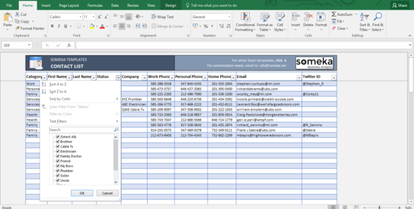Contact List Template In Excel | Free To Download & Easy To Print Within Spreadsheet Templates Excel
