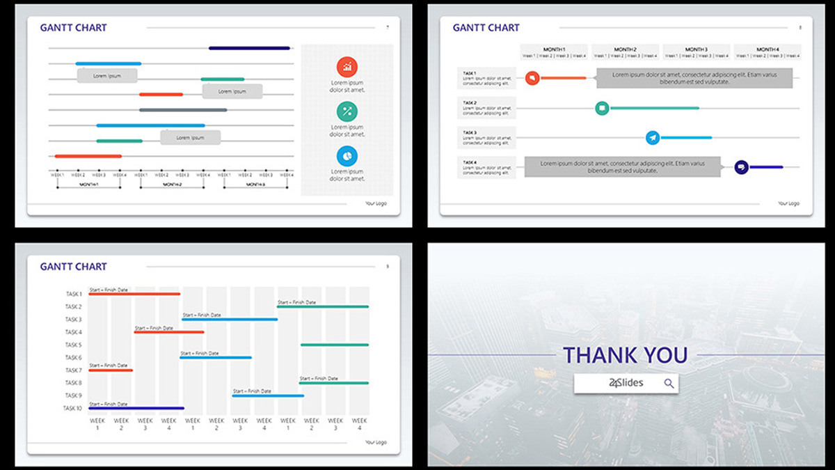Corporate Gantt Chart Free Powerpoint Template And Ppt Gantt Chart Template Free