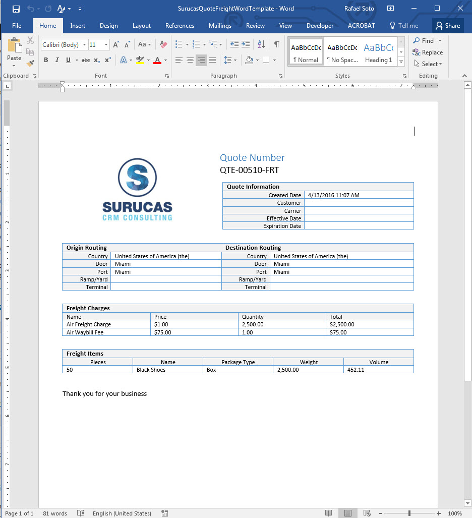 Creating Freight Quote Templates In Word   Surucas With Quote Spreadsheet Template