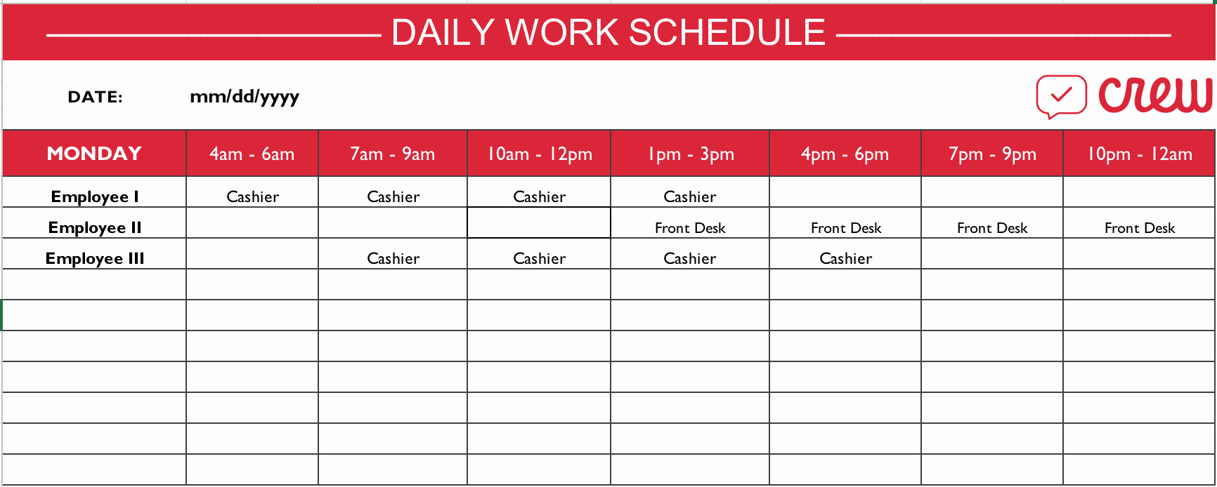 Daily Work Schedule Template Free Daily Work Schedule Template Crew To Employee Schedule Templates