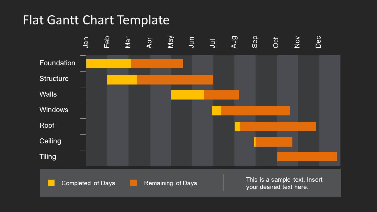 Dark Gantt Chart Template For Powerpoint With Flat Style   Slidemodel With Gantt Chart Template For Powerpoint