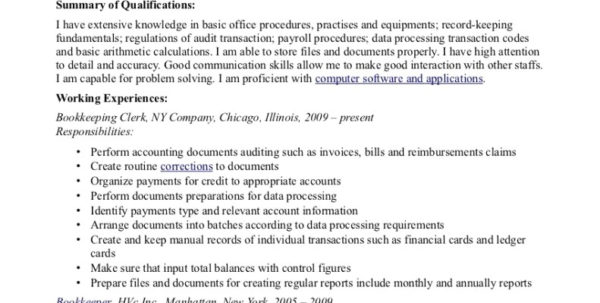 Data Entry Resume Sample Luxury Awesome File Clerk Of | Musmus Intended For Bookkeeping Resume Template