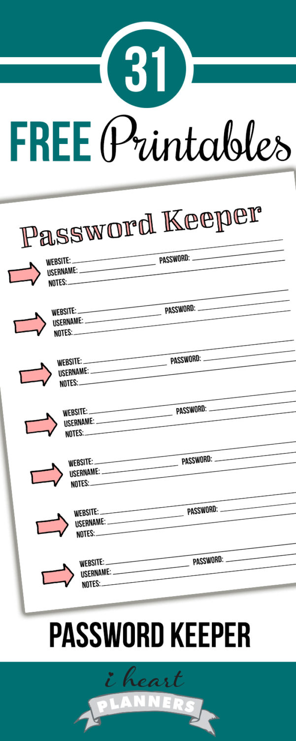 Day 6: Password Keeper   I Heart Planners Within Free Printable Password Keeper