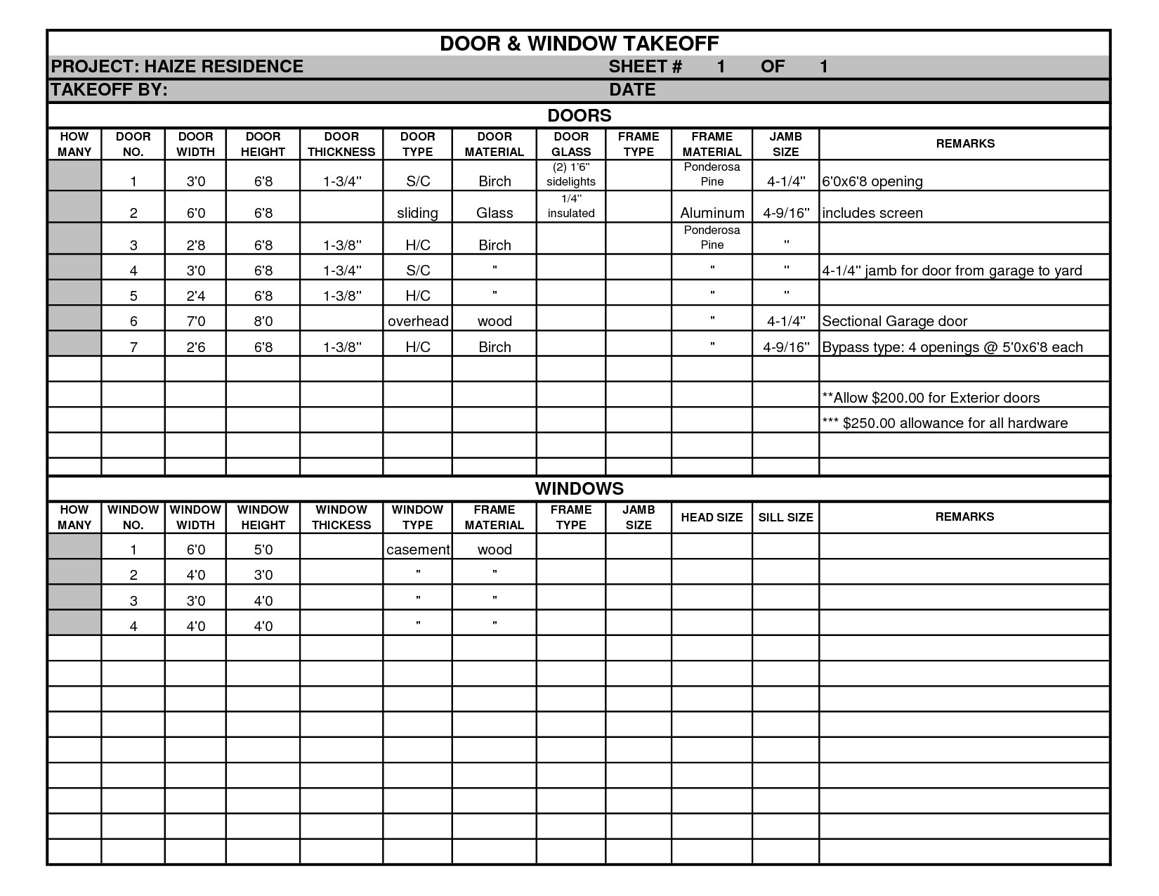 Door And Window Takeoff Sheet With Residential Cost Estimate Template