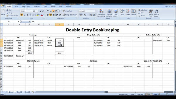 Double Entry Accounting Spreadsheet Template | Papillon Northwan Inside Double Entry Bookkeeping Spreadsheet Excel