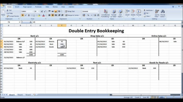 Double Entry Bookkeeping Template Spreadsheet And Double Entry With With Excel Double Entry Bookkeeping Template Free