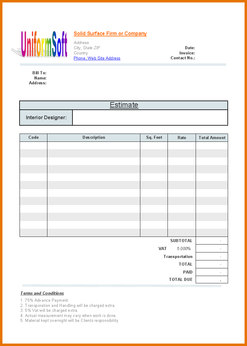 Download Free Construction Estimate Form – Billigfodboldtrojer And Construction Estimate Forms Download