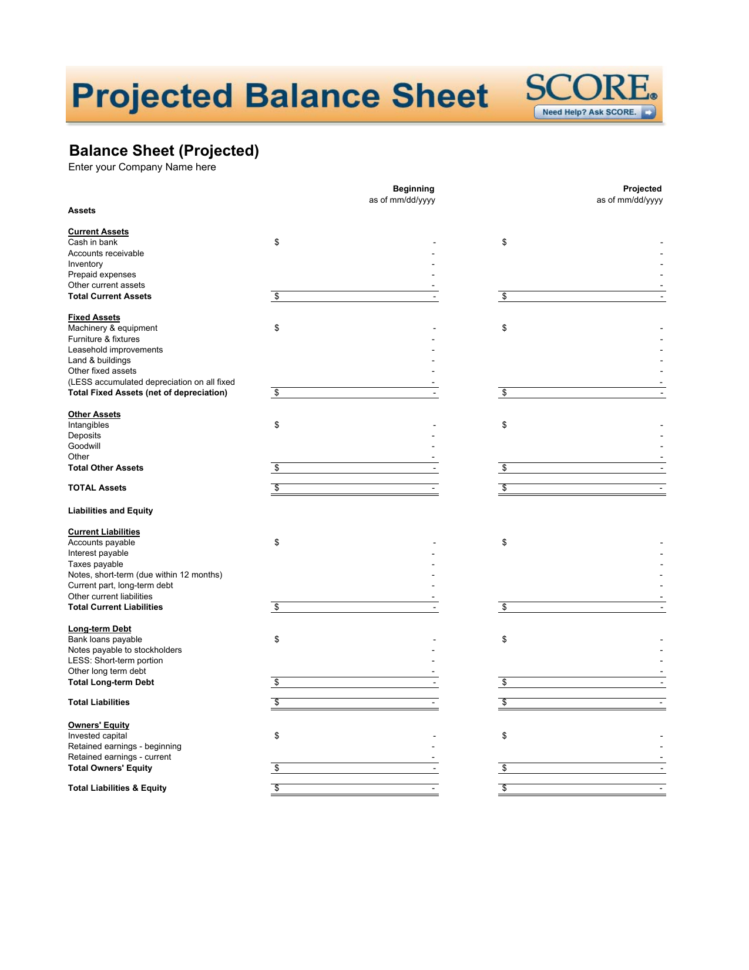 Download Projected Balance Sheet Template | Excel | Pdf | Rtf | Word Inside Balance Sheet Template Excel