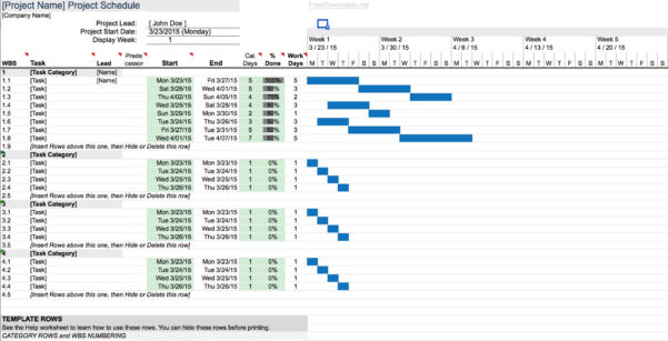 Download Simple Gantt Chart Template | Excel | Freedownloads Within Simple Gantt Chart Template