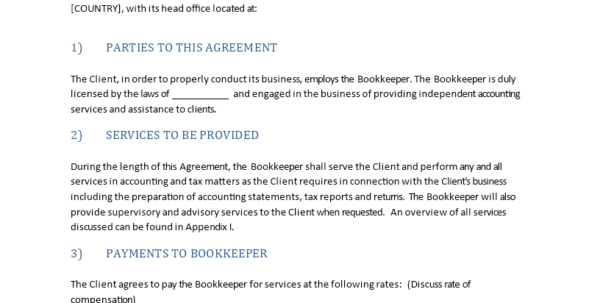 高级Agreement With Bookkeeper | 样本文件在Allbusinesstemplates And Bookkeeping Agreement Template