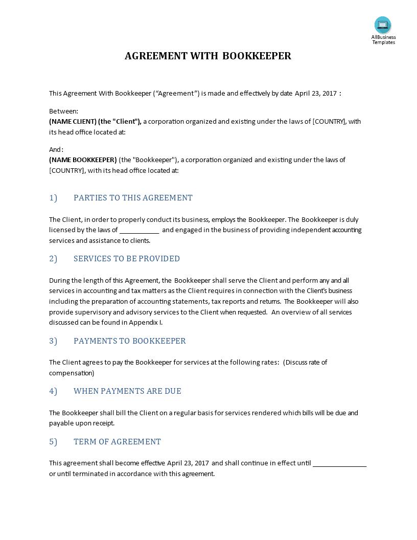 高级Agreement With Bookkeeper | 样本文件在Allbusinesstemplates With Bookkeeping Contract Template