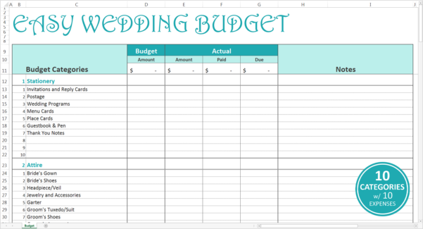 Easy Wedding Budget   Excel Template   Savvy Spreadsheets For Sample Wedding Budget Spreadsheet