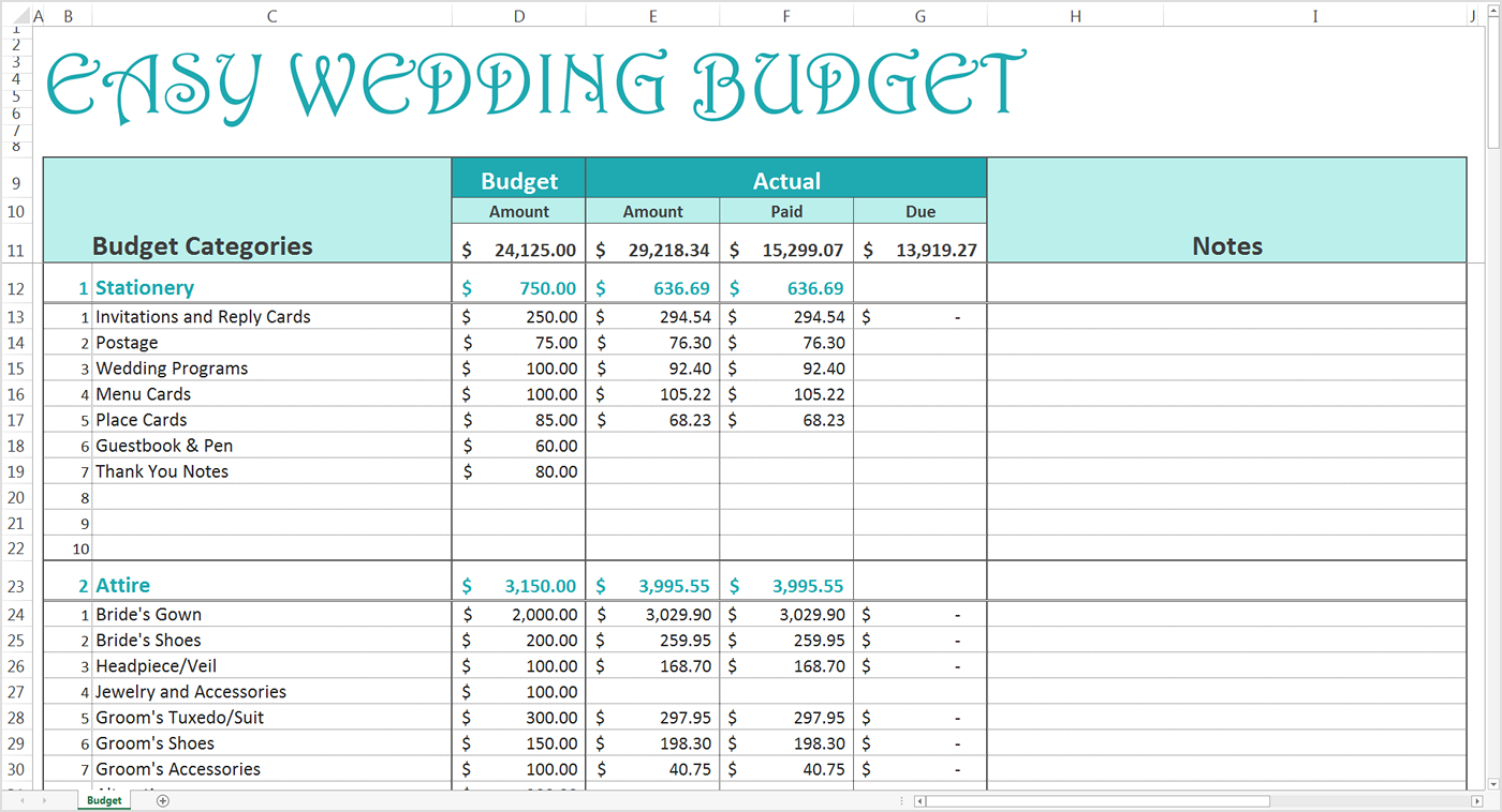 Easy Wedding Budget   Excel Template   Savvy Spreadsheets Inside Budget Spreadsheet Template Excel