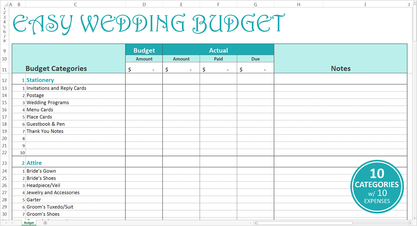 Easy Wedding Budget - Excel Template - Savvy Spreadsheets Intended For Wedding Budget Spreadsheet Template