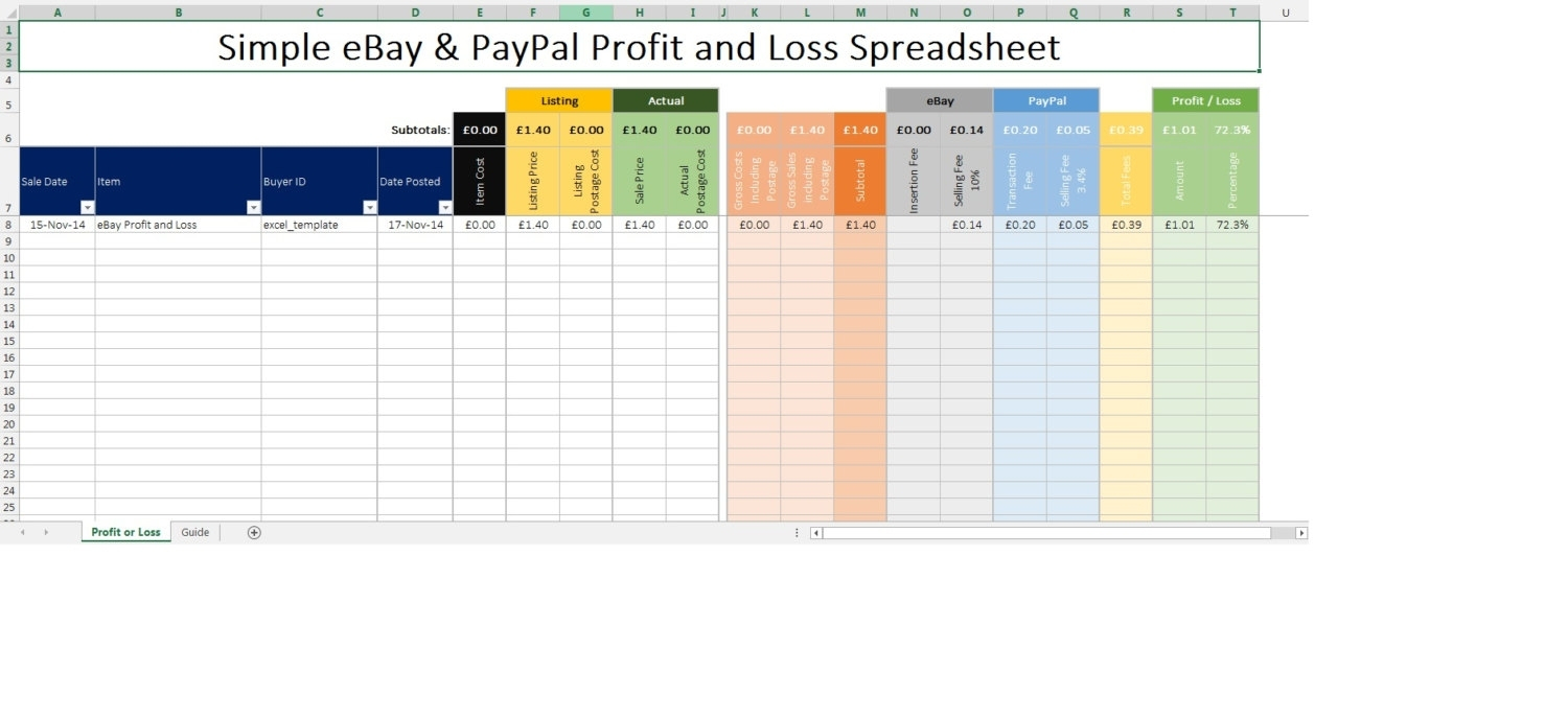 Ebay And Paypal Profit And Loss Spreadsheet Inc Fees Microsoft In Bookkeeping For Ebay Sellers