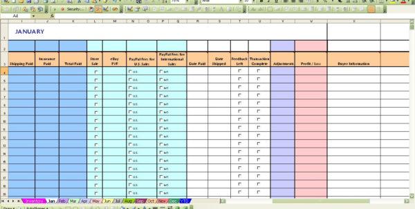 Ebay Profit & Loss Excel Spreadsheet To Profit Loss Spreadsheet Templates