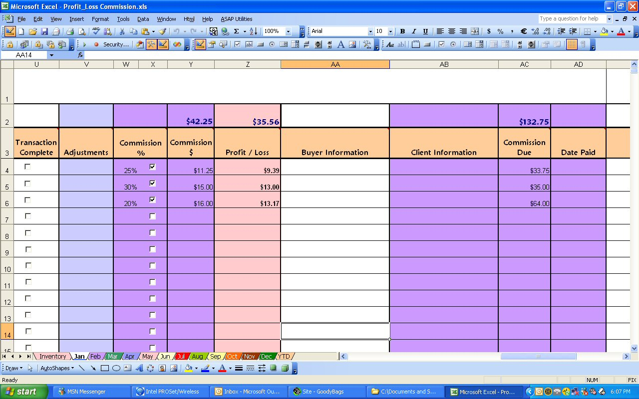 Ebay Profit & Loss With Commission Excel Spreadsheet Inside Profit And Loss Spreadsheet Template