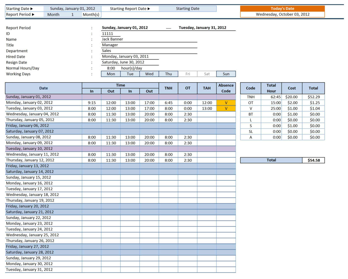 Employee Attendance Sheet Template Excel In Excel Spreadsheet Samples
