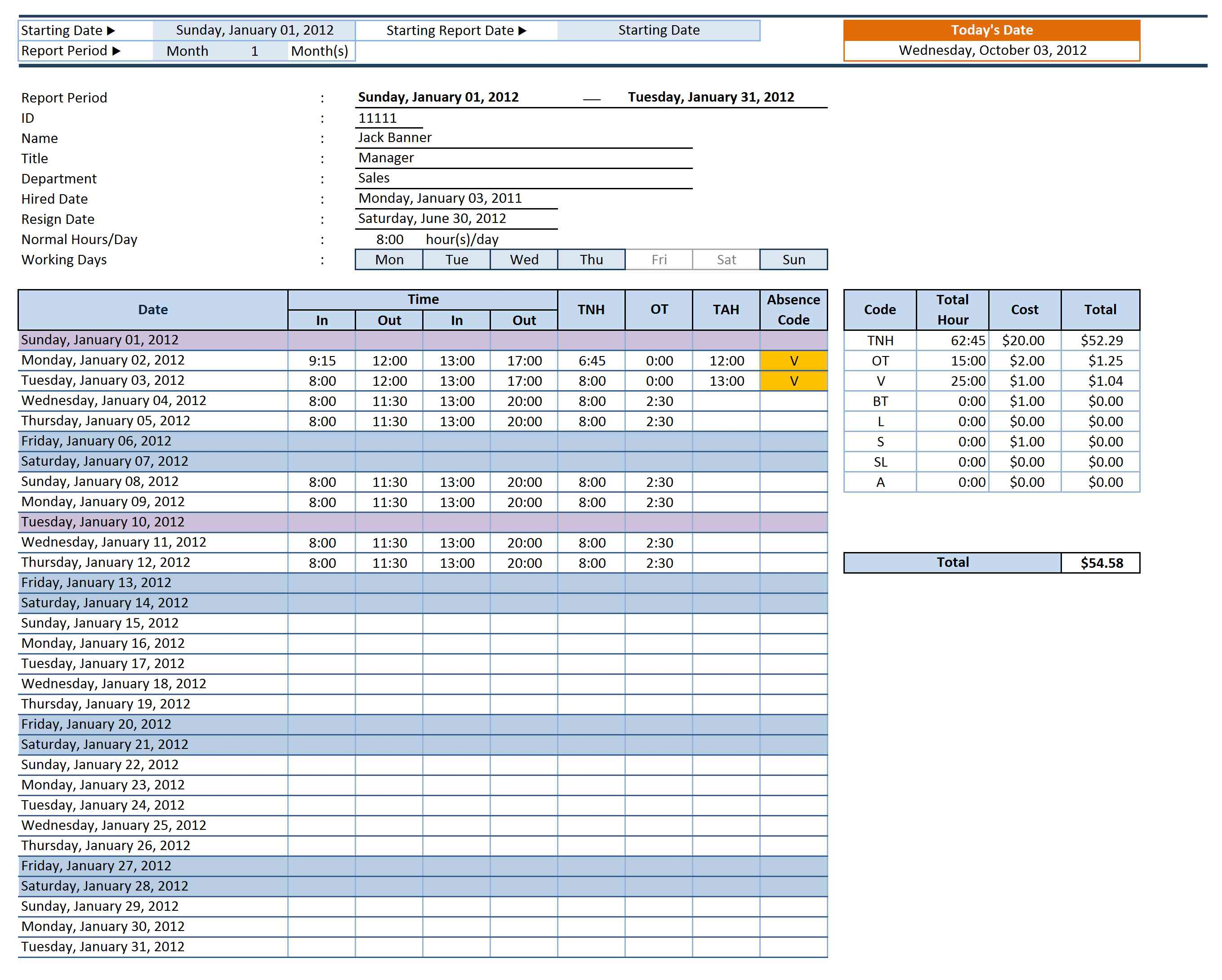 Employee Attendance Sheet Template Excel With Microsoft Spreadsheet Template