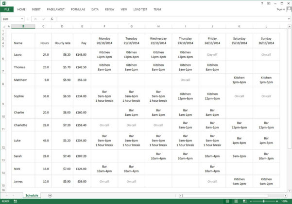 Employee Schedule Excel Spreadsheet | Sosfuer Spreadsheet To Excel Spreadsheet Template Scheduling