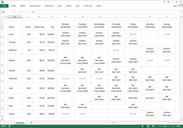 Employee Schedule Excel Spreadsheet | Sosfuer Spreadsheet To Excel Spreadsheet Template Scheduling