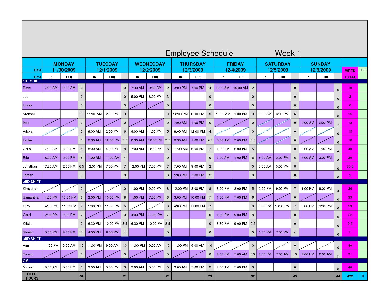 Employee Schedule Template Excel 10   Isipingo Secondary Within Employee Schedule Template Excel