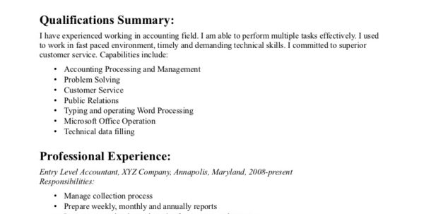Entry Level Bookkeeper Resume Sample 6 Accounting Throughout Bookkeeper Resume Sample Summary